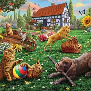 Dogs and Cats at Play 1000 Piece Jigsaw Puzzle - Sunsout
