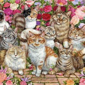 Floral Cats 1000 Piece Jigsaw Puzzle - Falcon de luxe