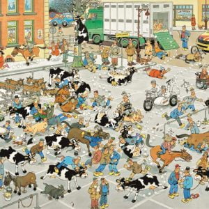 Jan Van Haasteren - The Cattle Market 1000 Piece Jigsaw Puzzle - Jumbo