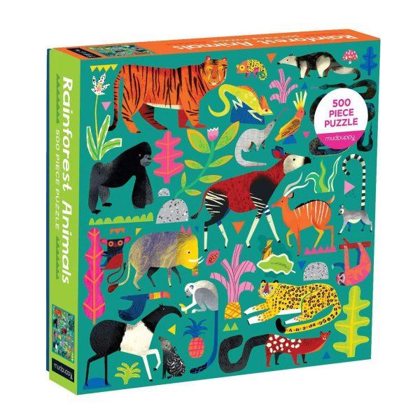 Rainforest Animals 500 Piece Family Jigsaw Puzzle - Mudpuppy