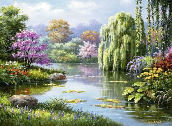 Romantic Pond View 500 Piece Jigsaw Puzzle - Ravensburger