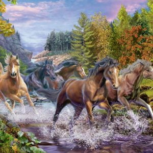 Rushing River Horses 100XXL Piece Jigsaw Puzzle - Ravensburger