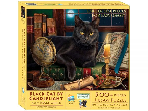 Black Cat by Candlelight 500+ Piece Jigsaw Puzzle - Sunsout