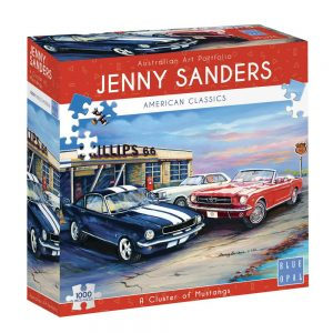 Jenny Sanders - A Cluster of Mustangs 1000 piece Jigsaw Puzzle - Blue Opal