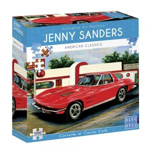 Jenny Sanders - Corvette at Cactus Cafe 1000 Piece Jigsaw Puzzle - Blue Opal
