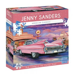Jenny Sanders - Pink Caddy at the Carhop Diner 1000 piece Jigsaw Puzzle - Blue Opal