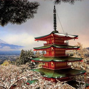 Mount Fuji and Chureito Pagoda Panorama 3000 Piece Jigsaw Puzzle - Educa