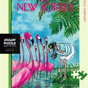 New York Puzzle Company - Flamingo Photographer 500 Piece Jigsaw Puzzle