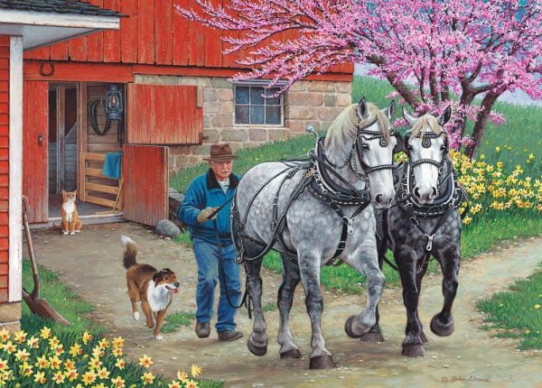 Stable Mates - Back in the Harness 500 XL Piece Jigsaw Puzzle - Holdson