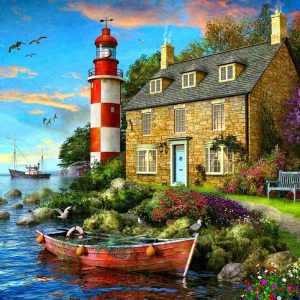 Sunsets - The Cottage Lighthouse 1000 Piece Jigsaw Puzzle - Holdson