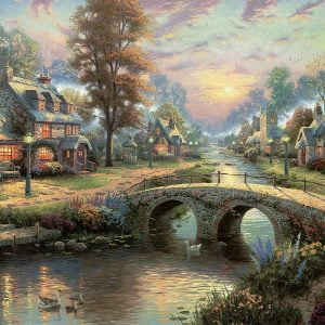 Thomas Kinkade - Sunset on Lamplight Lane 2000 Piece Jigsaw Puzzle - Ceaco