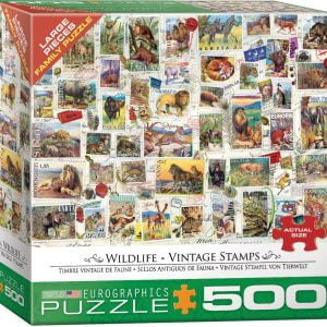 Wildlife Vintage Stamps 500 Large Piece Jigsaw Puzzle - Eurographics