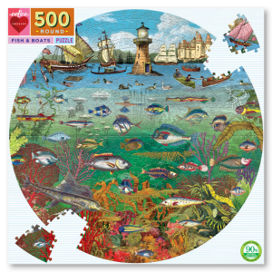 Fish & Boats 500 Piece Round Jigsaw Puzzle - eeBoo