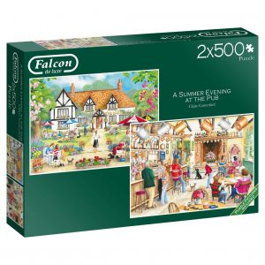 A Summer Evening at the Pub 2 x 500 Piece Jigsaw Puzzle Set - Falcon de luxe
