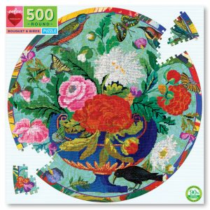 Bouquet and Birds 500 Piece Round Puzzle - eeBoo
