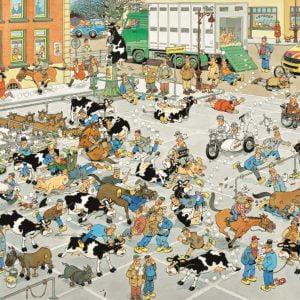 Jan Van Haasteren - The Cattle Market 2000 Piece Jigsaw Puzzle - Jumbo
