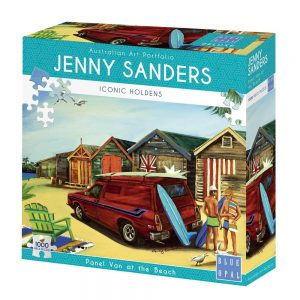 enny Sanders - Panel Van at the Beach 1000 Piece Jigsaw Puzzle - Blue Opal