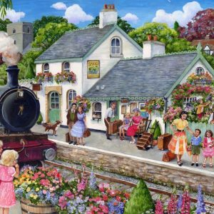 The English Village - Stop at the Train Station 500 XL Piece Jigsaw Puzzle - Holdson
