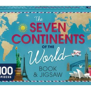 The Seven Continents of the World Book and 100 Piece Jigsaw Puzzle