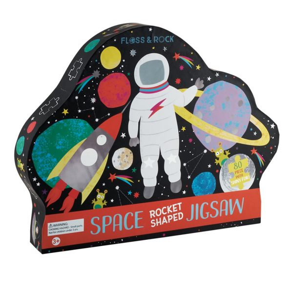 Space 80 Piece Rocket Shaped Jigsaw Puzzle - Floss & Rock