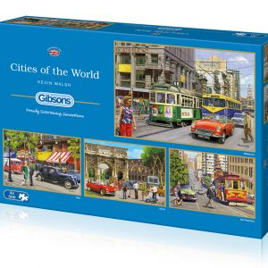 Cities of the World 4 x 500 Piece Jigsaw Puzzles - Gibsons
