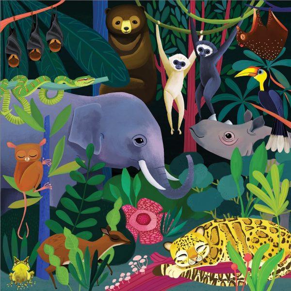 Glow in the Dark - Jungle Illuminated 500 Piece Puzzle - Mudpuppy