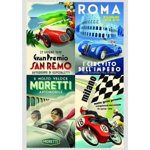 Vintage Italian Auto Posters 1000 Piece Jigsaw Puzzle - Piatnik