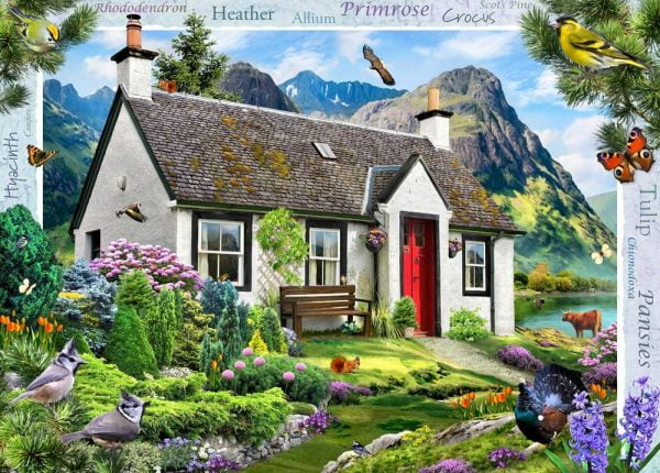 Blossom Borders - Lochside Cottage 500 XL Piece Puzzle - Holdson