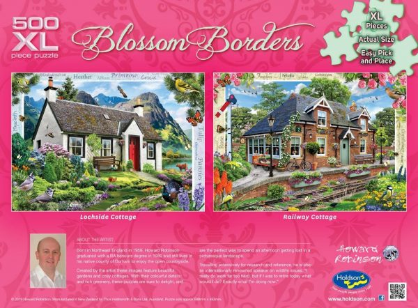 Blossom Borders - Railway Cottage 500 XL Piece Puzzle - Holdson