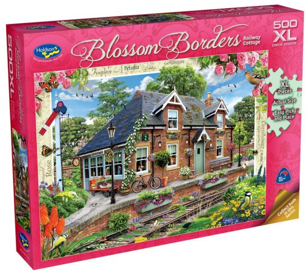 Blossom Borders - Railway Cottage 500 XL Piece Jigsaw Puzzle - Holdson