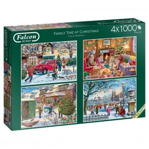 Family Time at Christmas 4 x 1000 Piece Puzzle - Falcon de luxe