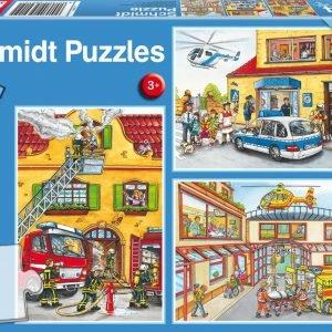 Fire Brigade & Police 3 x 24 Piece Jigsaw Puzzle - Schmidt