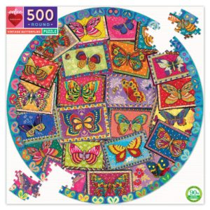 Vintage Butterfly Round 500 Piece Jigsaw Puzzle - eeBoo
