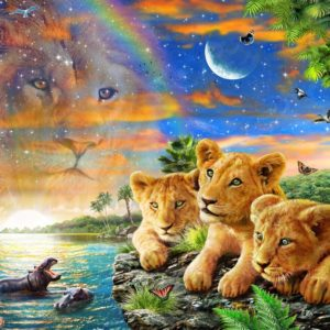 Gallery 6 - Lion Cubs on Lake 300 XL Piece Puzzle - Holdson