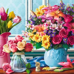 Flowers In Vases 1500 Piece Puzzle - Trefl