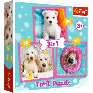 Dogs in the Bath 3-in-1 Puzzle Set - Trefl