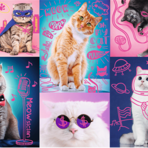Neon Colour Line - Awesome Cats 1000 Piece Puzzle - Trefl