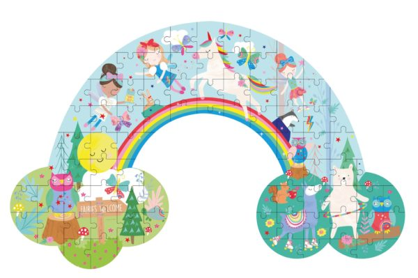 Rainbow Fairy Rainbow Shaped 80 Piece Puzzle - Floss & Rock