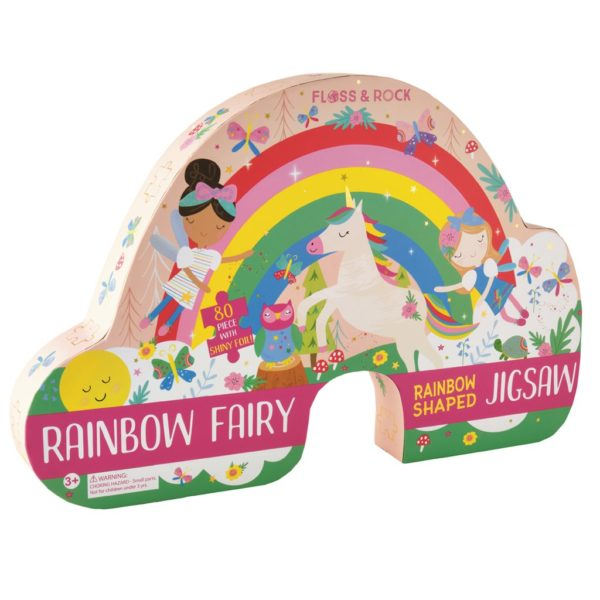 Rainbow Fairy 80 Piece Rainbow Shaped Jigsaw Puzzle - Floss & Rock