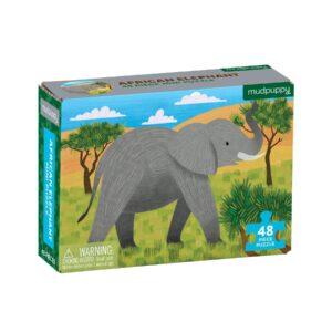 Mini Puzzle - African Elephant 48 Piece Puzzle - Mudpuppy