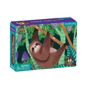 Mini Puzzle - Three Toed Sloth 48 Piece Puzzle - Mudpuppy