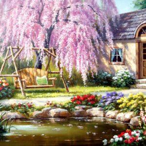 Cherry Blossom Cottage 1000 Piece Jigsaw Puzzle - Anatolian