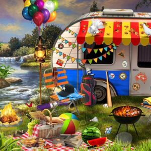Holiday Days - Caravanning 1000 Piece Jigsaw Puzzle - Funbox