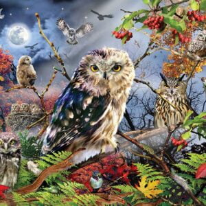 Owls in the Moonlight 1000 Piece Jigsaw Puzzle - Jumbo