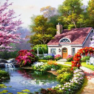 Spring Cottage in Full Bloom 1500 Piece Jigsaw Puzzle - Anatolian