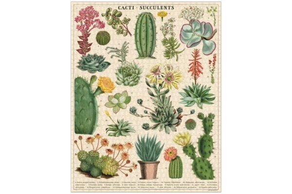 Vintage Puzzle - Cacti & Succulents 1000 Piece Jigsaw Puzzle - Cavallini & Co