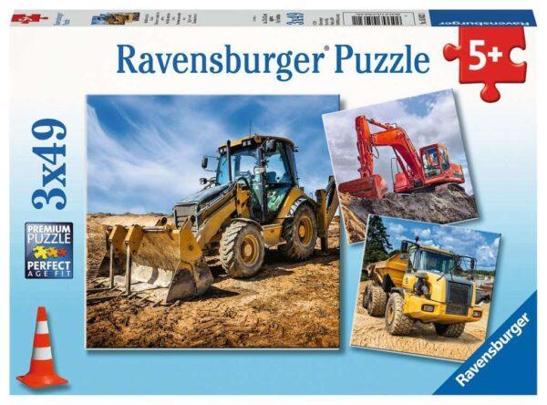 Digger at work 3 x 49 Piece Puzzle - Ravensburger