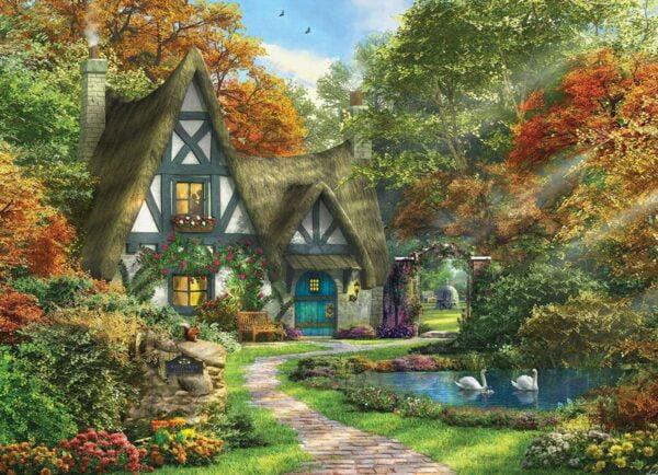 Dominic Davison - White Swan Cottage 300 XL piece Puzzle - Eurographics