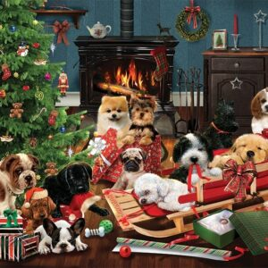 Christmas Puppies 1000 Piece Puzzle - Cobble Hill