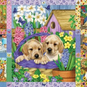 Puppies & Posies Quilt 1000 Piece Jigsaw Puzzle - Cobble Hill